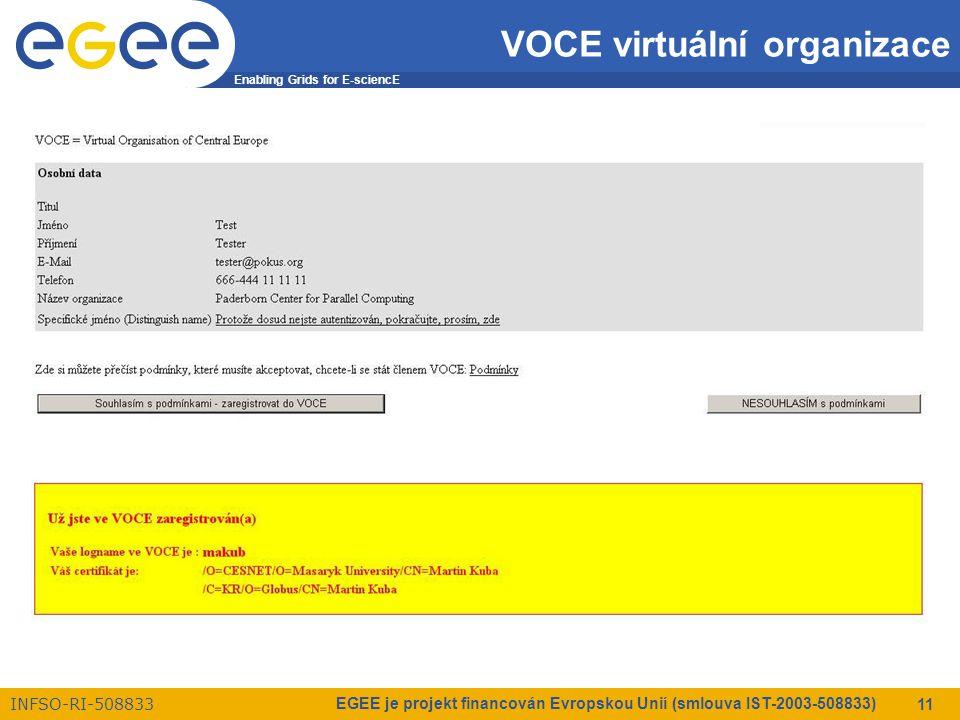 Enabling Grids for E-sciencE INFSO-RI-508833 EGEE je projekt financován Evropskou Unií (smlouva IST-2003-508833) 11 VOCE virtuální organizace