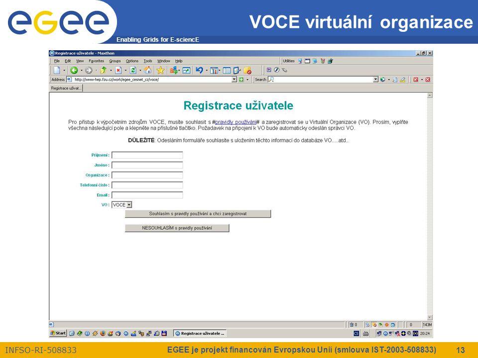 Enabling Grids for E-sciencE INFSO-RI-508833 EGEE je projekt financován Evropskou Unií (smlouva IST-2003-508833) 13 VOCE virtuální organizace