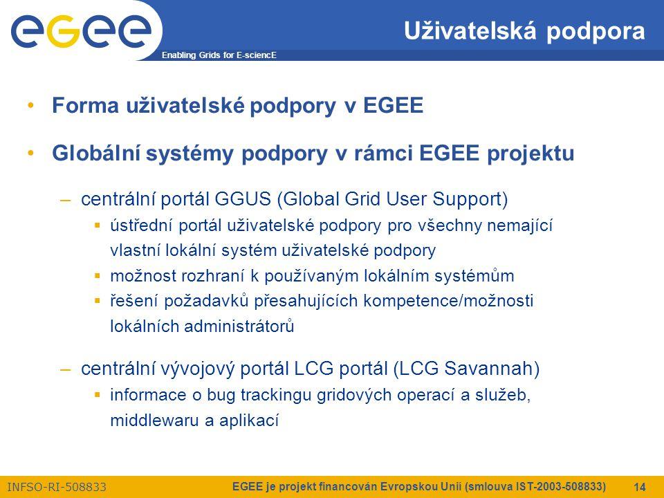 Enabling Grids for E-sciencE INFSO-RI-508833 EGEE je projekt financován Evropskou Unií (smlouva IST-2003-508833) 14 Uživatelská podpora Forma uživatelské podpory v EGEE Globální systémy podpory v rámci EGEE projektu –centrální portál GGUS (Global Grid User Support)  ústřední portál uživatelské podpory pro všechny nemající vlastní lokální systém uživatelské podpory  možnost rozhraní k používaným lokálním systémům  řešení požadavků přesahujících kompetence/možnosti lokálních administrátorů –centrální vývojový portál LCG portál (LCG Savannah)  informace o bug trackingu gridových operací a služeb, middlewaru a aplikací