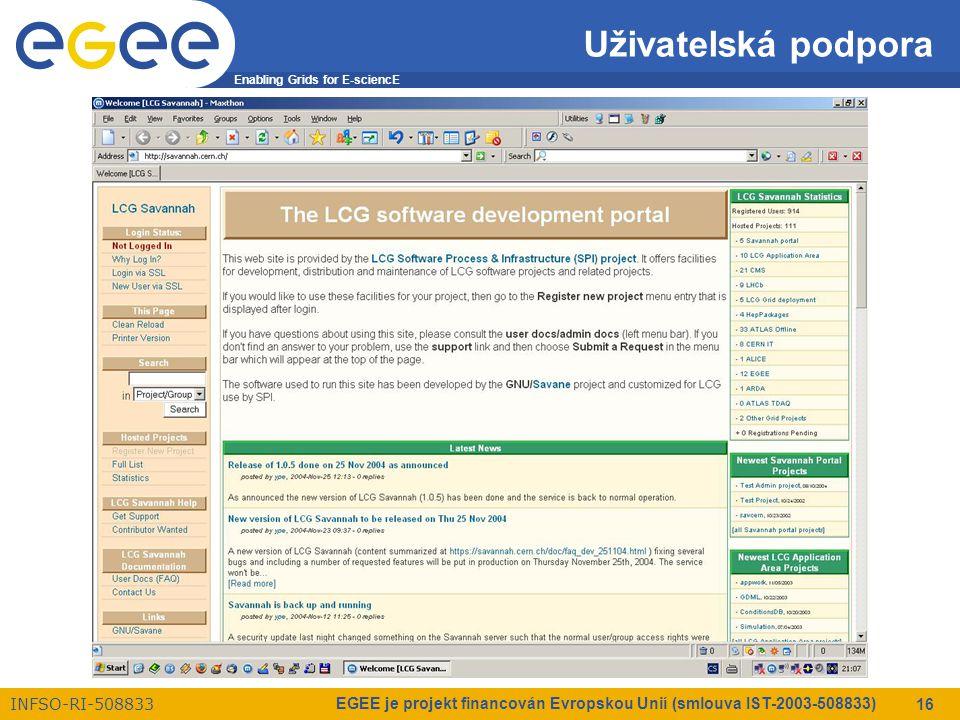 Enabling Grids for E-sciencE INFSO-RI-508833 EGEE je projekt financován Evropskou Unií (smlouva IST-2003-508833) 16 Uživatelská podpora