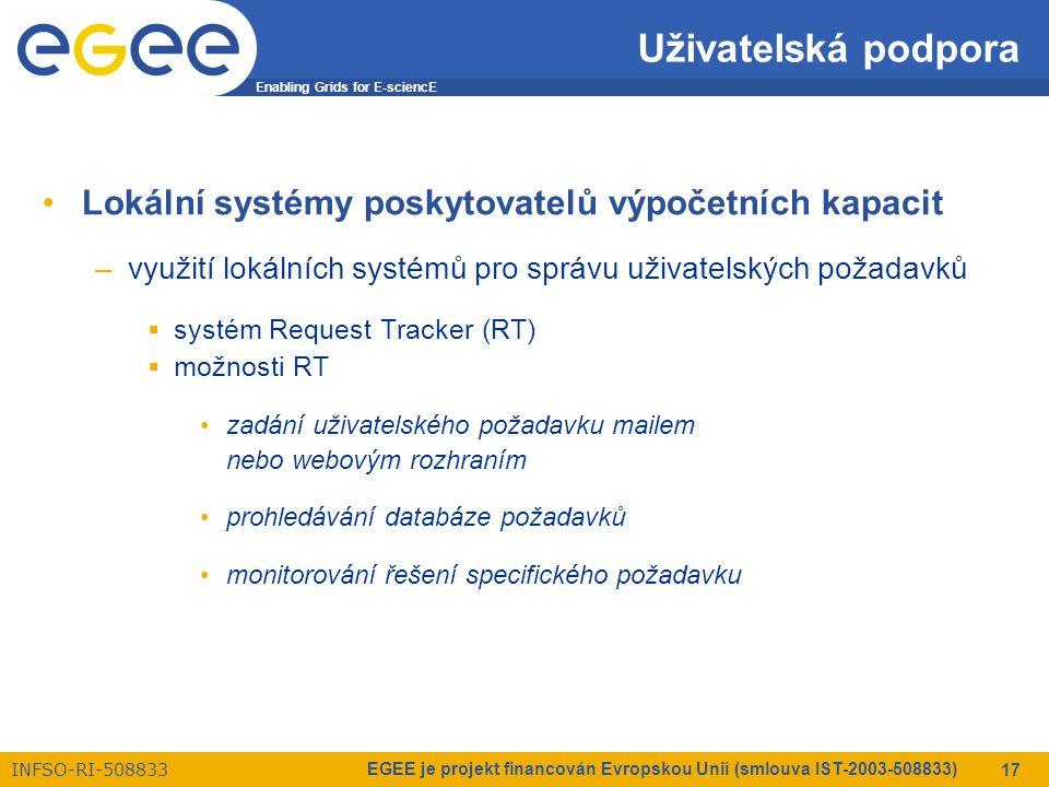 Enabling Grids for E-sciencE INFSO-RI-508833 EGEE je projekt financován Evropskou Unií (smlouva IST-2003-508833) 17 Uživatelská podpora Lokální systémy poskytovatelů výpočetních kapacit –využití lokálních systémů pro správu uživatelských požadavků  systém Request Tracker (RT)  možnosti RT zadání uživatelského požadavku mailem nebo webovým rozhraním prohledávání databáze požadavků monitorování řešení specifického požadavku