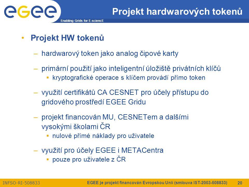 Enabling Grids for E-sciencE INFSO-RI-508833 EGEE je projekt financován Evropskou Unií (smlouva IST-2003-508833) 20 Projekt hardwarových tokenů Projekt HW tokenů –hardwarový token jako analog čipové karty –primární použití jako inteligentní úložiště privátních klíčů  kryptografické operace s klíčem provádí přímo token –využití certifikátů CA CESNET pro účely přístupu do gridového prostředí EGEE Gridu –projekt financován MU, CESNETem a dalšími vysokými školami ČR  nulové přímé náklady pro uživatele –využití pro účely EGEE i METACentra  pouze pro uživatele z ČR