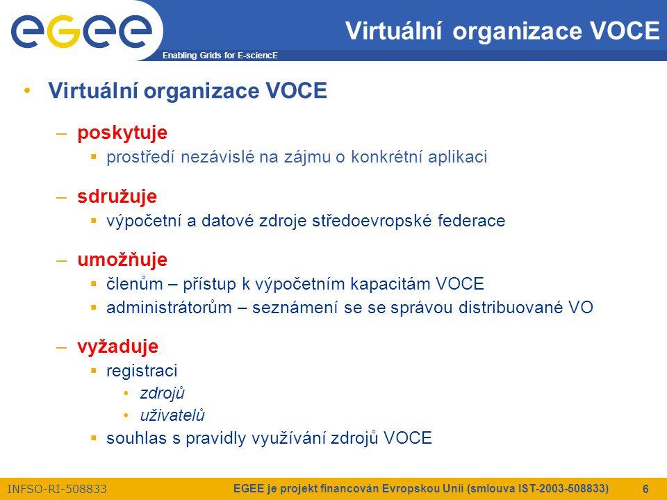 Enabling Grids for E-sciencE INFSO-RI-508833 EGEE je projekt financován Evropskou Unií (smlouva IST-2003-508833) 6 Virtuální organizace VOCE –poskytuje  prostředí nezávislé na zájmu o konkrétní aplikaci –sdružuje  výpočetní a datové zdroje středoevropské federace –umožňuje  členům – přístup k výpočetním kapacitám VOCE  administrátorům – seznámení se se správou distribuované VO –vyžaduje  registraci zdrojů uživatelů  souhlas s pravidly využívání zdrojů VOCE
