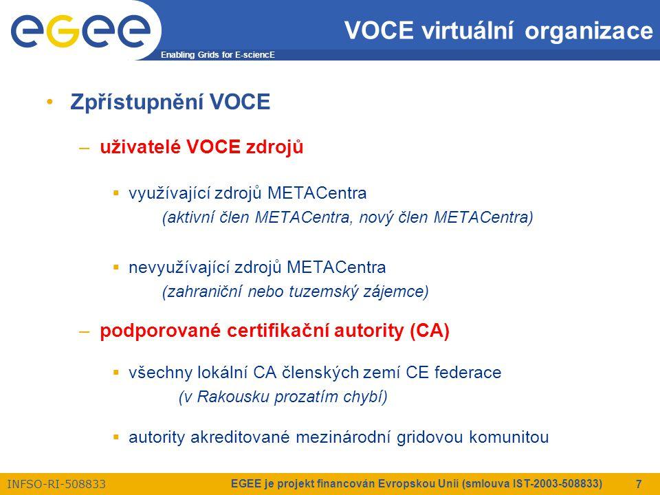 Enabling Grids for E-sciencE INFSO-RI-508833 EGEE je projekt financován Evropskou Unií (smlouva IST-2003-508833) 7 VOCE virtuální organizace Zpřístupnění VOCE –uživatelé VOCE zdrojů  využívající zdrojů METACentra (aktivní člen METACentra, nový člen METACentra)  nevyužívající zdrojů METACentra (zahraniční nebo tuzemský zájemce) –podporované certifikační autority (CA)  všechny lokální CA členských zemí CE federace (v Rakousku prozatím chybí)  autority akreditované mezinárodní gridovou komunitou