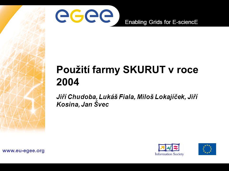 INFSO-RI-508833 Enabling Grids for E-sciencE www.eu-egee.org Použití farmy SKURUT v roce 2004 Jiří Chudoba, Lukáš Fiala, Miloš Lokajíček, Jiří Kosina, Jan Švec