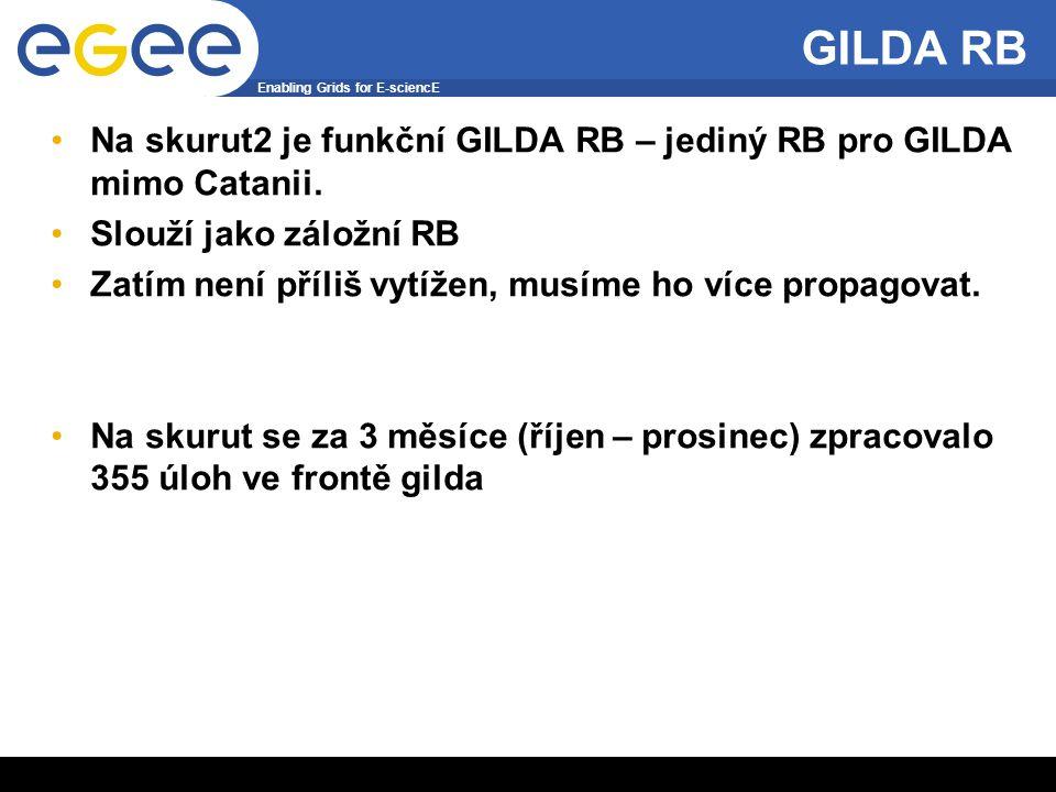 Enabling Grids for E-sciencE INFSO-RI-508833 6 GILDA RB Na skurut2 je funkční GILDA RB – jediný RB pro GILDA mimo Catanii. Slouží jako záložní RB Zatí