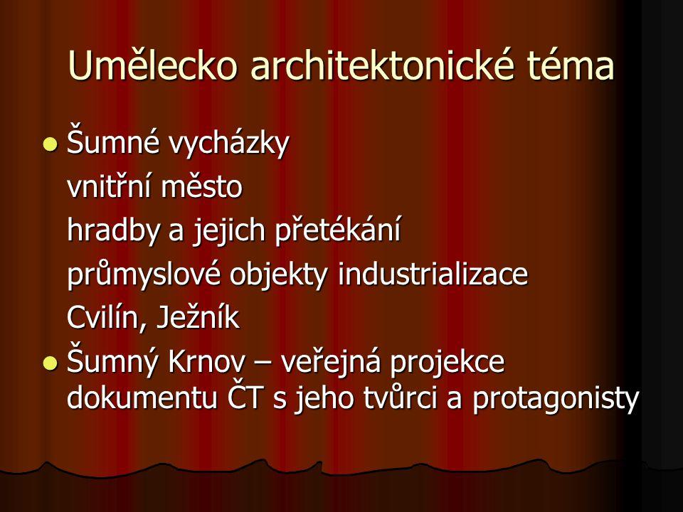 Umělecko architektonické téma Šumné vycházky Šumné vycházky vnitřní město hradby a jejich přetékání hradby a jejich přetékání průmyslové objekty indus