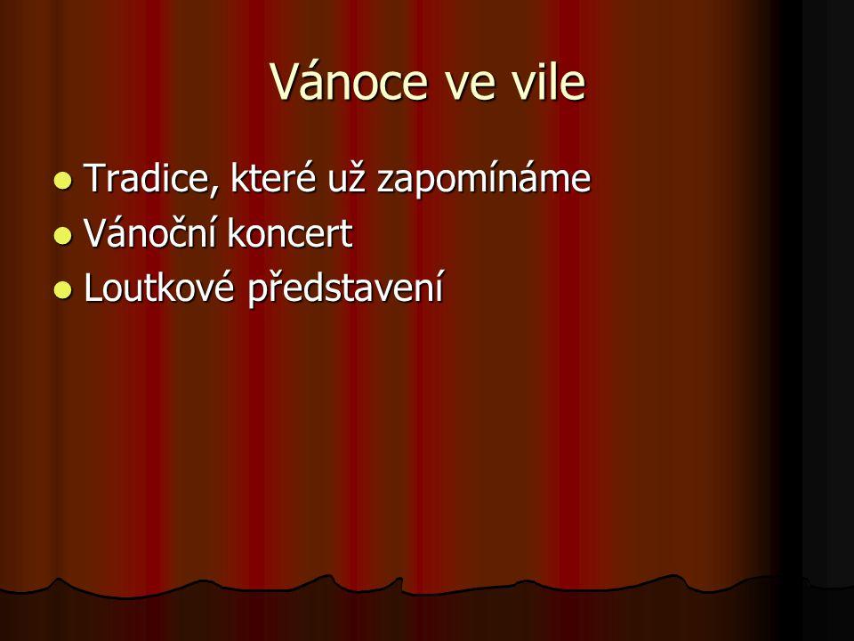 Vánoce ve vile Tradice, které už zapomínáme Tradice, které už zapomínáme Vánoční koncert Vánoční koncert Loutkové představení Loutkové představení
