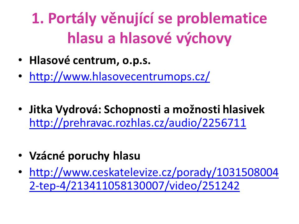 1. Portály věnující se problematice hlasu a hlasové výchovy Hlasové centrum, o.p.s. http://www.hlasovecentrumops.cz/ Jitka Vydrová: Schopnosti a možno