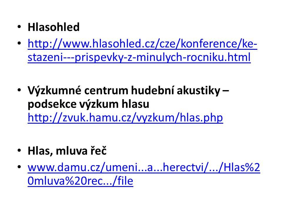 Hlasohled http://www.hlasohled.cz/cze/konference/ke- stazeni---prispevky-z-minulych-rocniku.html http://www.hlasohled.cz/cze/konference/ke- stazeni---prispevky-z-minulych-rocniku.html Výzkumné centrum hudební akustiky – podsekce výzkum hlasu http://zvuk.hamu.cz/vyzkum/hlas.php http://zvuk.hamu.cz/vyzkum/hlas.php Hlas, mluva řeč www.damu.cz/umeni...a...herectvi/.../Hlas%2 0mluva%20rec.../file www.damu.cz/umeni...a...herectvi/.../Hlas%2 0mluva%20rec.../file