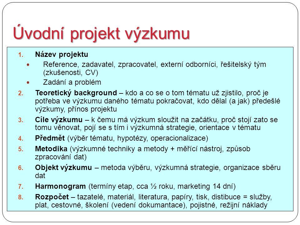 Úvodní projekt výzkumu 1. Název projektu Reference, zadavatel, zpracovatel, externí odborníci, řešitelský tým (zkušenosti, CV) Zadání a problém 2. Teo