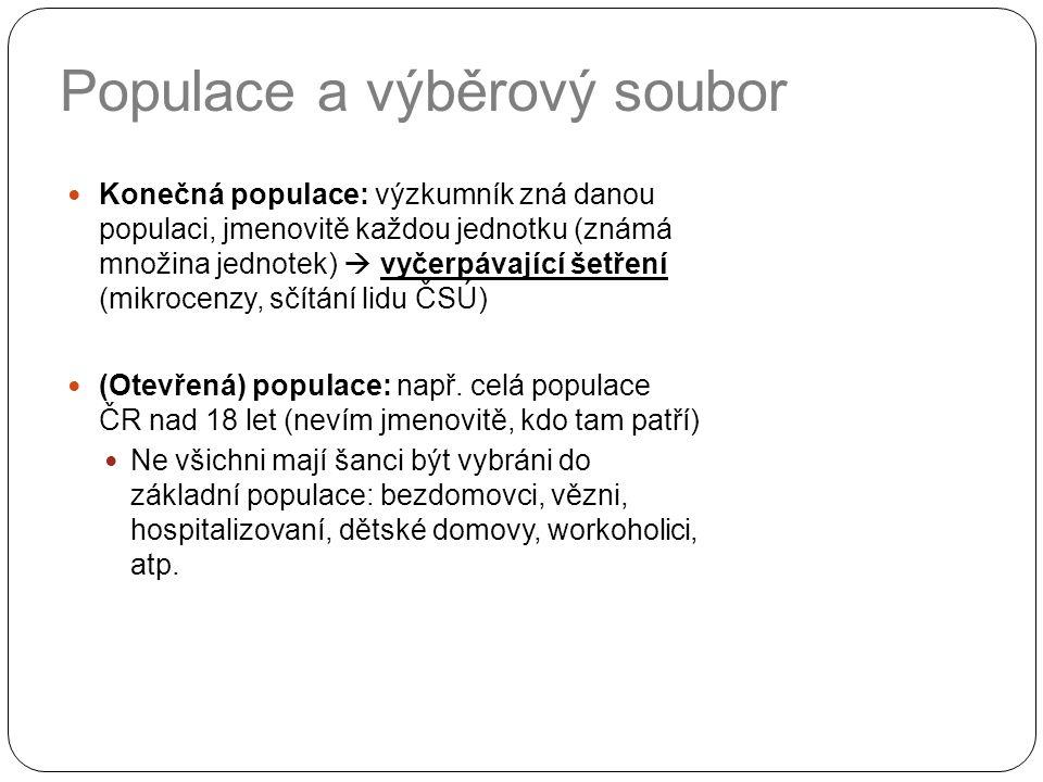 Populace a výběrový soubor Konečná populace: výzkumník zná danou populaci, jmenovitě každou jednotku (známá množina jednotek)  vyčerpávající šetření (mikrocenzy, sčítání lidu ČSÚ) (Otevřená) populace: např.