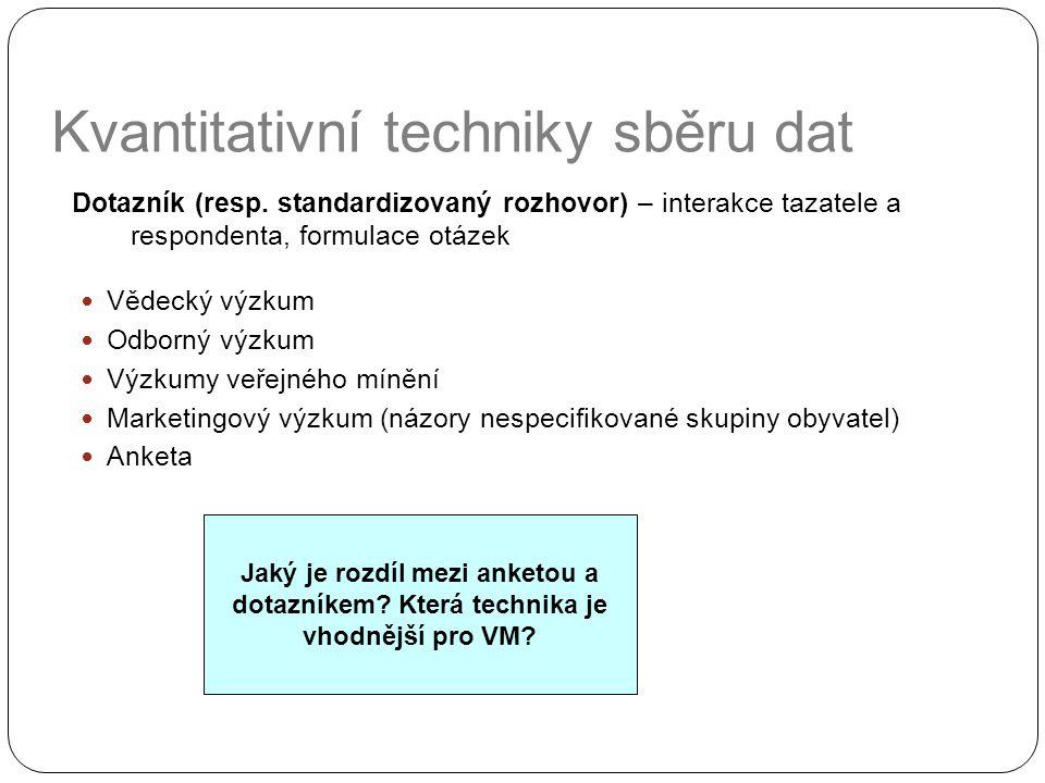Kvantitativní techniky sběru dat Dotazník (resp. standardizovaný rozhovor) – interakce tazatele a respondenta, formulace otázek Vědecký výzkum Odborný
