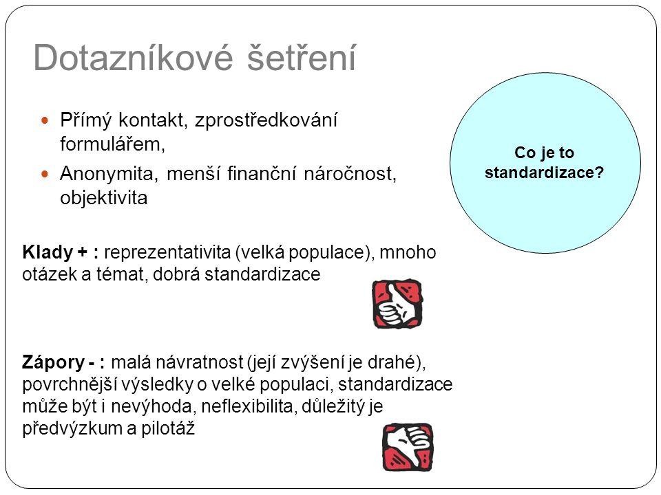 Dotazníkové šetření Přímý kontakt, zprostředkování formulářem, Anonymita, menší finanční náročnost, objektivita Klady + : reprezentativita (velká popu