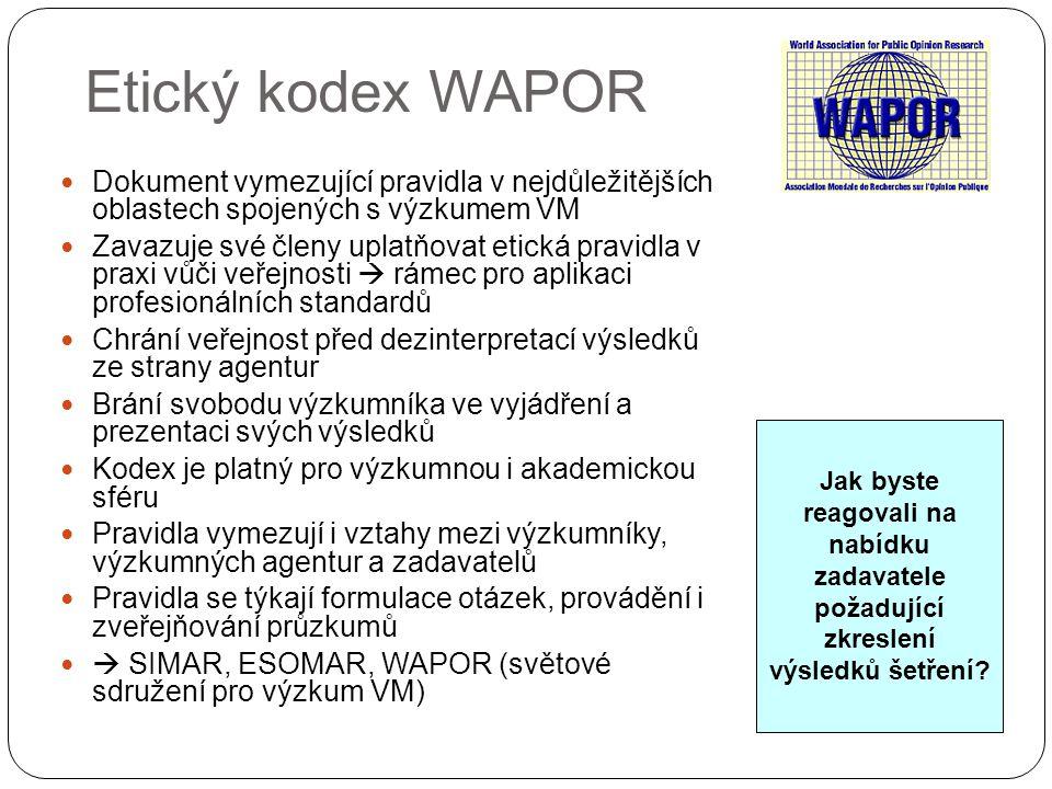 Etický kodex WAPOR Dokument vymezující pravidla v nejdůležitějších oblastech spojených s výzkumem VM Zavazuje své členy uplatňovat etická pravidla v p