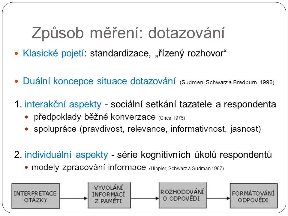 """Způsob měření: dotazování Klasické pojetí: standardizace, """"řízený rozhovor"""" Duální koncepce situace dotazování (Sudman, Schwarz a Bradburn, 1996) 1. i"""