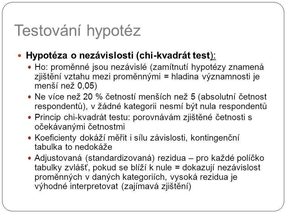 Testování hypotéz Hypotéza o nezávislosti (chi-kvadrát test): Ho: proměnné jsou nezávislé (zamítnutí hypotézy znamená zjištění vztahu mezi proměnnými = hladina významnosti je menší než 0,05) Ne více než 20 % četností menších než 5 (absolutní četnost respondentů), v žádné kategorii nesmí být nula respondentů Princip chi-kvadrát testu: porovnávám zjištěné četnosti s očekávanými četnostmi Koeficienty dokáží měřit i sílu závislosti, kontingenční tabulka to nedokáže Adjustovaná (standardizovaná) rezidua – pro každé políčko tabulky zvlášť, pokud se blíží k nule = dokazují nezávislost proměnných v daných kategoriích, vysoká rezidua je výhodné interpretovat (zajímavá zjištění)