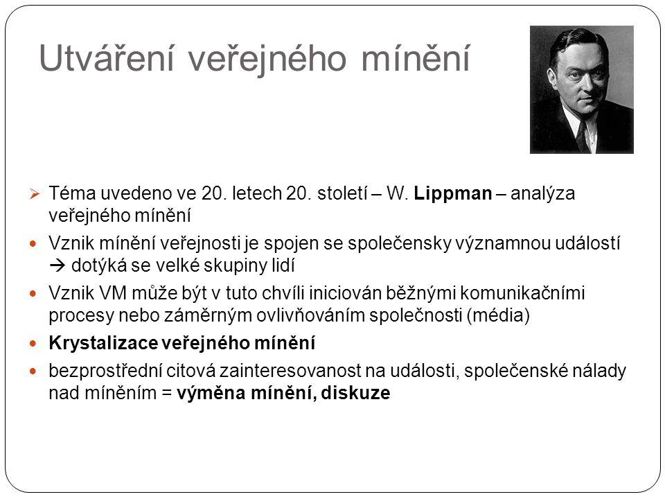 Utváření veřejného mínění  Téma uvedeno ve 20. letech 20. století – W. Lippman – analýza veřejného mínění Vznik mínění veřejnosti je spojen se společ