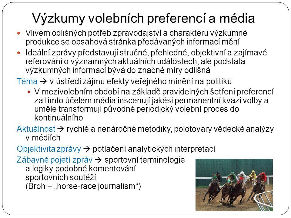 Výzkumy volebních preferencí a média Vlivem odlišných potřeb zpravodajství a charakteru výzkumné produkce se obsahová stránka předávaných informací mě