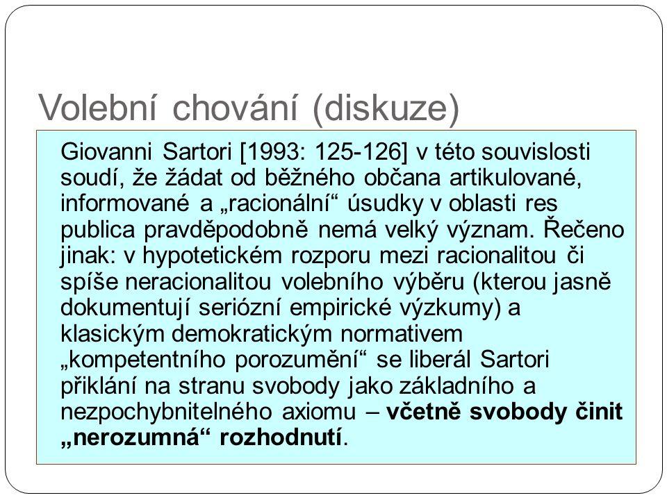 """Volební chování (diskuze) Giovanni Sartori [1993: 125-126] v této souvislosti soudí, že žádat od běžného občana artikulované, informované a """"racionáln"""