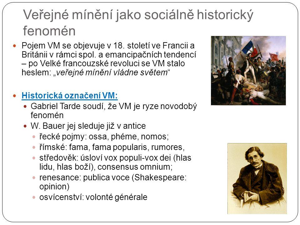 Veřejné mínění jako sociálně historický fenomén Pojem VM se objevuje v 18. století ve Francii a Británii v rámci spol. a emancipačních tendencí – po V