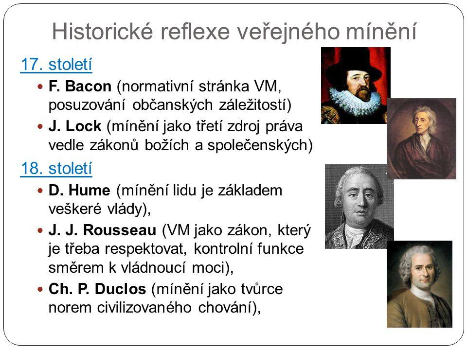 Historické reflexe veřejného mínění 17. století F. Bacon (normativní stránka VM, posuzování občanských záležitostí) J. Lock (mínění jako třetí zdroj p