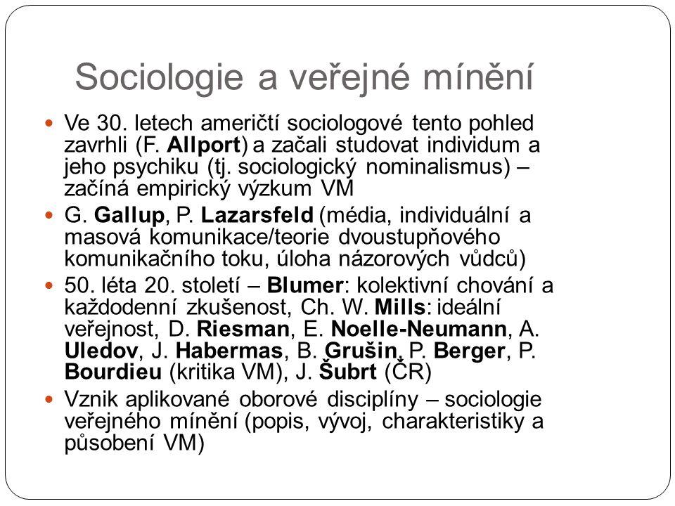 Sociologie a veřejné mínění Ve 30. letech američtí sociologové tento pohled zavrhli (F. Allport) a začali studovat individum a jeho psychiku (tj. soci