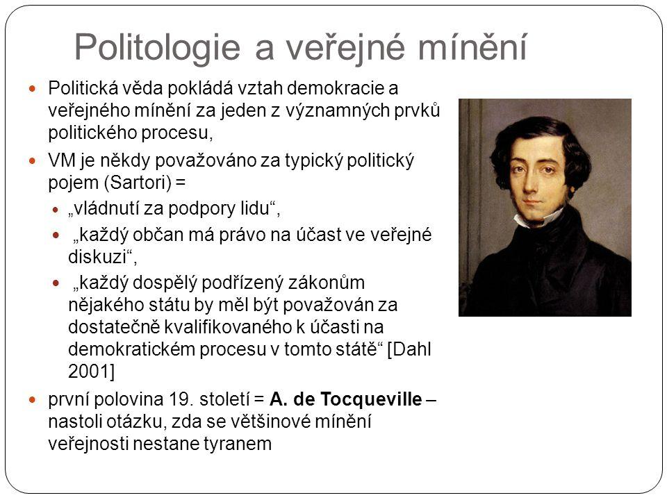"""Politologie a veřejné mínění Politická věda pokládá vztah demokracie a veřejného mínění za jeden z významných prvků politického procesu, VM je někdy považováno za typický politický pojem (Sartori) = """" vládnutí za podpory lidu , """"každý občan má právo na účast ve veřejné diskuzi , """"každý dospělý podřízený zákonům nějakého státu by měl být považován za dostatečně kvalifikovaného k účasti na demokratickém procesu v tomto státě [Dahl 2001] první polovina 19."""