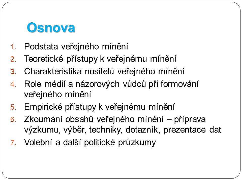 Osnova 1. Podstata veřejného mínění 2. Teoretické přístupy k veřejnému mínění 3. Charakteristika nositelů veřejného mínění 4. Role médií a názorových