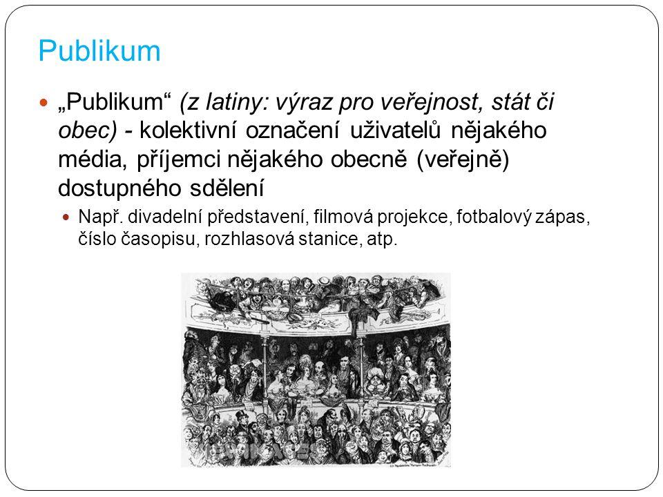 """""""Publikum"""" (z latiny: výraz pro veřejnost, stát či obec) - kolektivní označení uživatelů nějakého média, příjemci nějakého obecně (veřejně) dostupného"""
