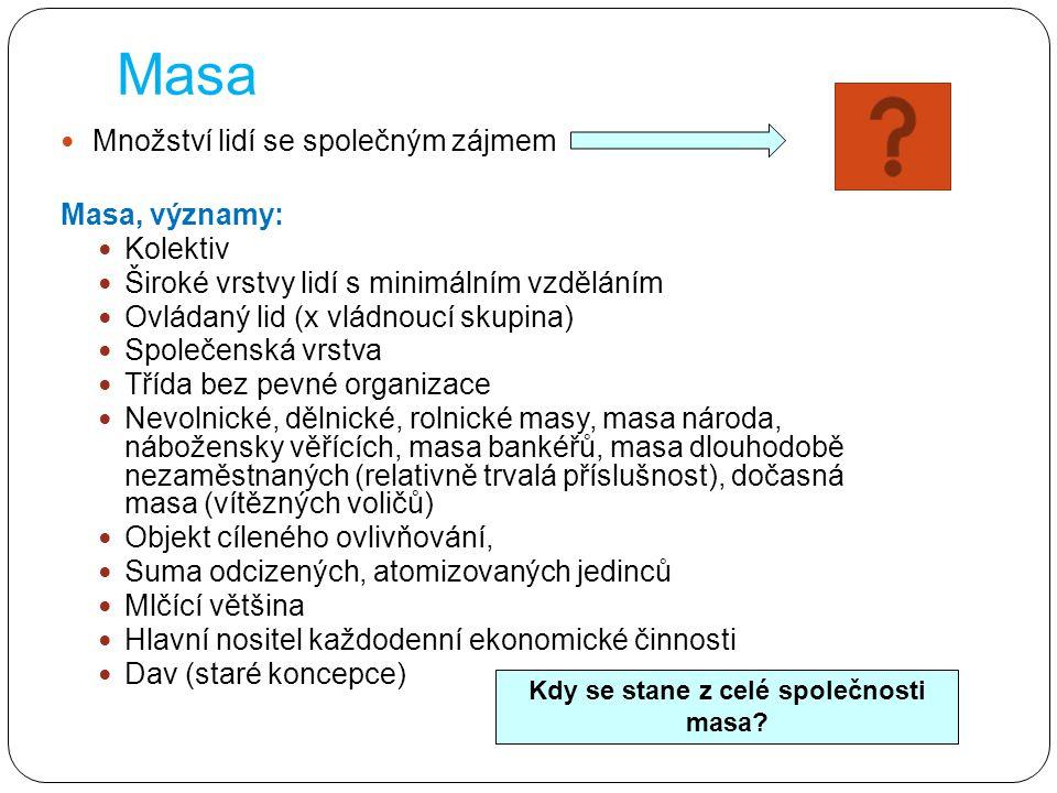 Masa Množství lidí se společným zájmem Masa, významy: Kolektiv Široké vrstvy lidí s minimálním vzděláním Ovládaný lid (x vládnoucí skupina) Společensk