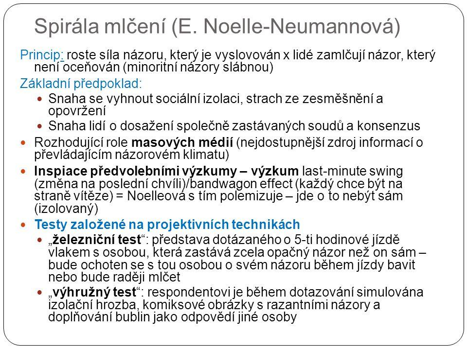 Spirála mlčení (E. Noelle-Neumannová) Princip: roste síla názoru, který je vyslovován x lidé zamlčují názor, který není oceňován (minoritní názory slá