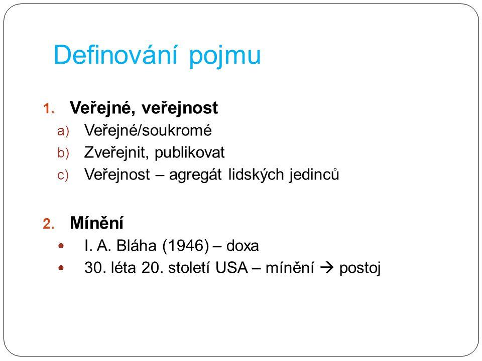 Definování pojmu 1. Veřejné, veřejnost a) Veřejné/soukromé b) Zveřejnit, publikovat c) Veřejnost – agregát lidských jedinců 2. Mínění I. A. Bláha (194