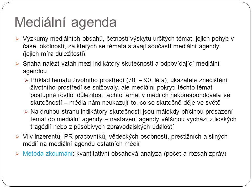 Mediální agenda  Výzkumy mediálních obsahů, četností výskytu určitých témat, jejich pohyb v čase, okolností, za kterých se témata stávají součástí mediální agendy (jejich míra důležitosti)  Snaha nalézt vztah mezi indikátory skutečnosti a odpovídající mediální agendou  Příklad tématu životního prostředí (70.