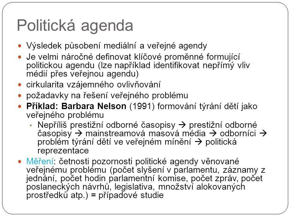 Politická agenda Výsledek působení mediální a veřejné agendy Je velmi náročné definovat klíčové proměnné formující politickou agendu (lze například identifikovat nepřímý vliv médií přes veřejnou agendu) cirkularita vzájemného ovlivňování požadavky na řešení veřejného problému Příklad: Barbara Nelson (1991) formování týrání dětí jako veřejného problému Nepříliš prestižní odborné časopisy  prestižní odborné časopisy  mainstreamová masová média  odborníci  problém týrání dětí ve veřejném mínění  politická reprezentace Měření: četnosti pozornosti politické agendy věnované veřejnému problému (počet slyšení v parlamentu, záznamy z jednání, počet hodin parlamentní komise, počet zpráv, počet poslaneckých návrhů, legislativa, množství alokovaných prostředků atp.) = případové studie
