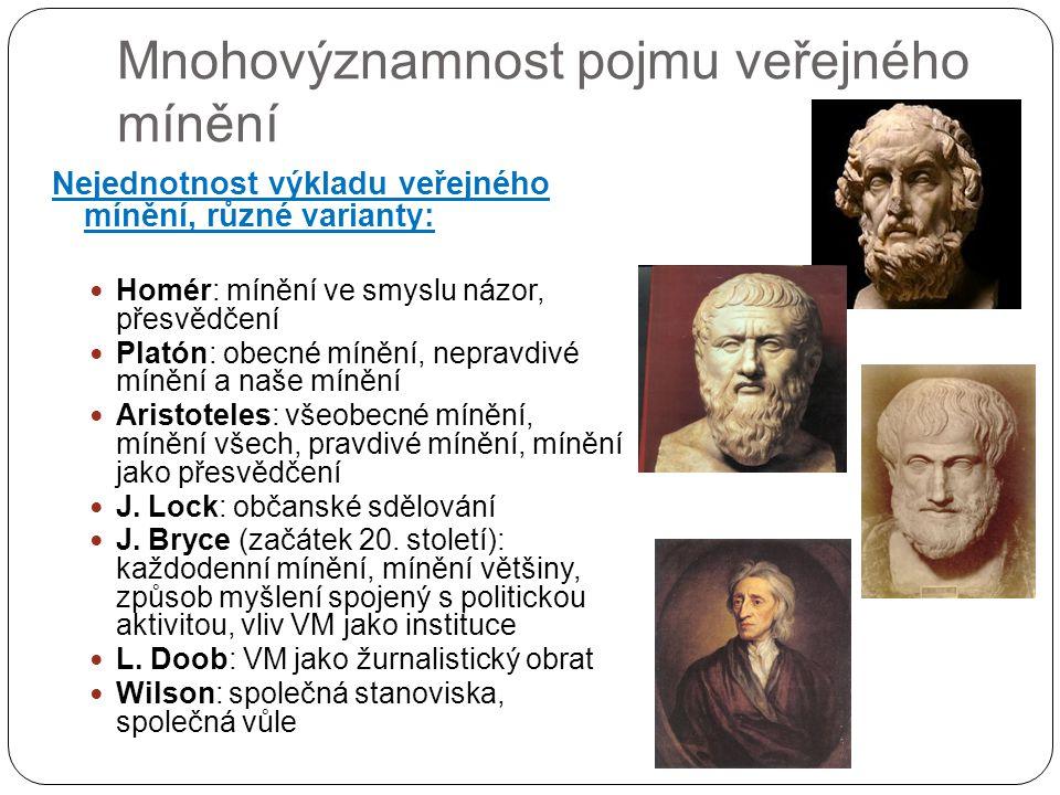 Mnohovýznamnost pojmu veřejného mínění Nejednotnost výkladu veřejného mínění, různé varianty: Homér: mínění ve smyslu názor, přesvědčení Platón: obecné mínění, nepravdivé mínění a naše mínění Aristoteles: všeobecné mínění, mínění všech, pravdivé mínění, mínění jako přesvědčení J.