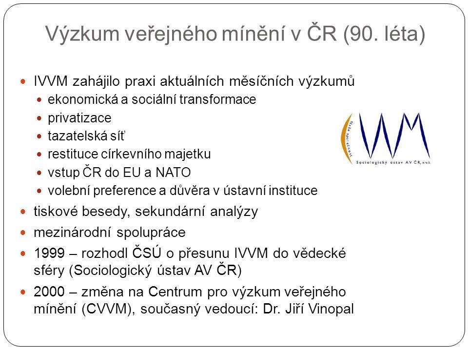 Výzkum veřejného mínění v ČR (90. léta) IVVM zahájilo praxi aktuálních měsíčních výzkumů ekonomická a sociální transformace privatizace tazatelská síť