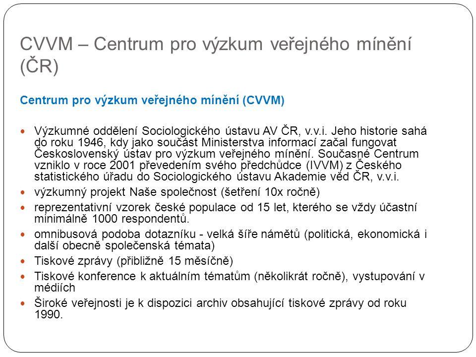 CVVM – Centrum pro výzkum veřejného mínění (ČR) Centrum pro výzkum veřejného mínění (CVVM) Výzkumné oddělení Sociologického ústavu AV ČR, v.v.i. Jeho