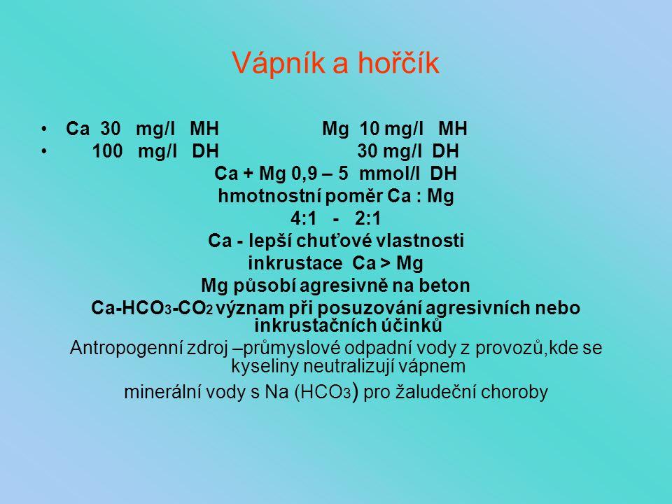 Vápník a hořčík Ca 30 mg/l MH Mg 10 mg/l MH 100 mg/l DH 30 mg/l DH Ca + Mg 0,9 – 5 mmol/l DH hmotnostní poměr Ca : Mg 4:1 - 2:1 Ca - lepší chuťové vla