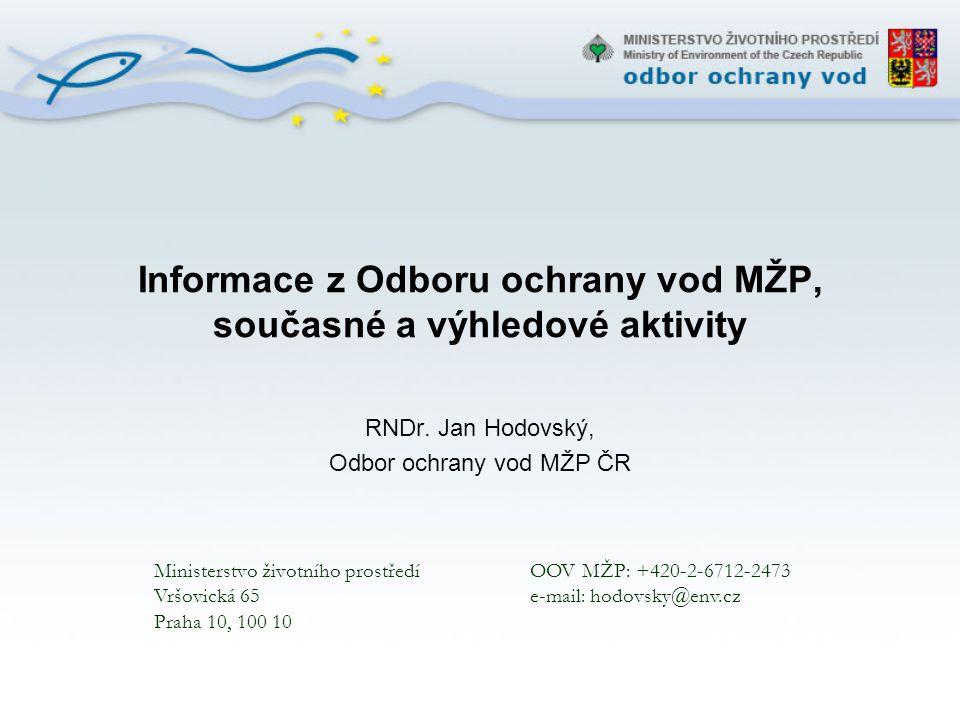 Vbrané hlavní problémy ochrany vod v ČR: Eutrofizace - nedostatečné odstranění nutrientů, tj.