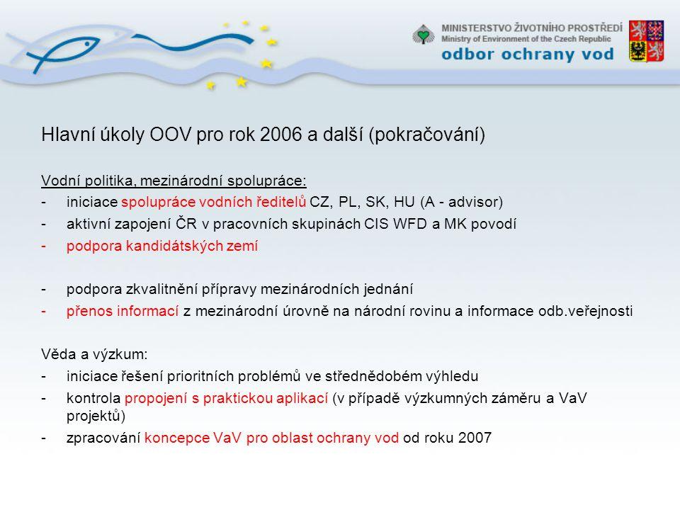 Hlavní úkoly OOV pro rok 2006 a další (pokračování) Vodní politika, mezinárodní spolupráce: -iniciace spolupráce vodních ředitelů CZ, PL, SK, HU (A -
