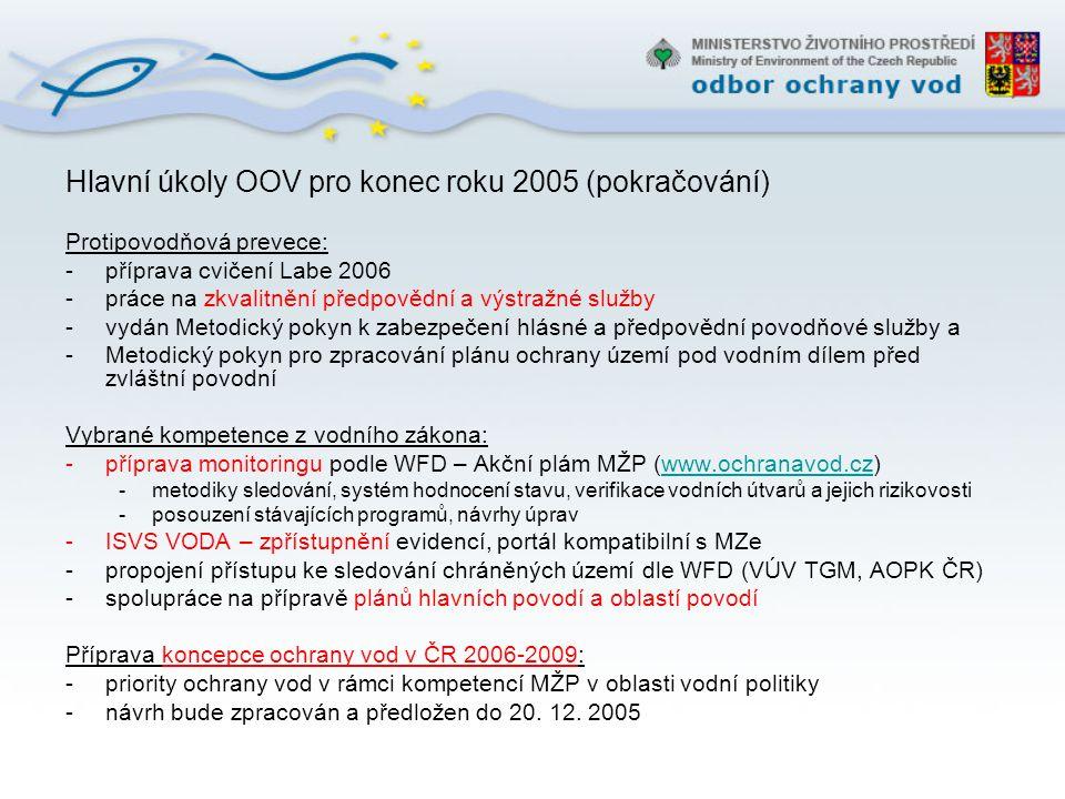 Hlavní úkoly OOV pro konec roku 2005 (pokračování) Protipovodňová prevece: -příprava cvičení Labe 2006 -práce na zkvalitnění předpovědní a výstražné s