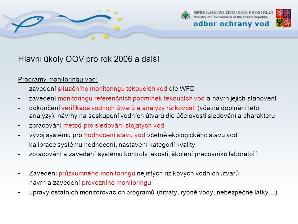 Hlavní úkoly OOV pro rok 2006 a další (pokračování) ISVS VODA MŽP: -sjednocení nástrojů pro přístup uživatelů k jednotlivým evidencím -zpřístupnění mapových služeb pro potřeby ŽP (CENIA) -propojení evidencí pro účelové vyhledávání dat vybraného území Prevence znečištění, ochrana vod: -podpora a vytváření nástrojů pro znovuzavedení emisního monitoringu -provázání aktivit s ČIŽP -zkvalitnění registrů zdrojů znečištění (vypouštění, prioritní látky, ČOV, zemědělství..) -podpora a vytváření nástrojů pro ochranu referenčních úseků toků Plánování v oblasti vod: -odborná podpora pro návrhy programů opatření, datová a informační podpora -monitoring a hodnocení stavu vod