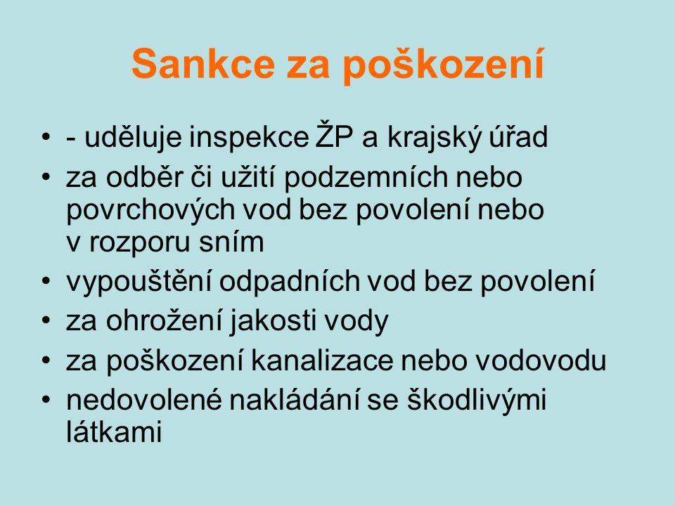 Sankce za poškození - uděluje inspekce ŽP a krajský úřad za odběr či užití podzemních nebo povrchových vod bez povolení nebo v rozporu sním vypouštění