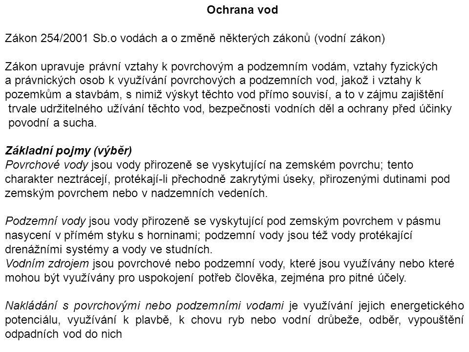 Ochrana vod Zákon 254/2001 Sb.o vodách a o změně některých zákonů (vodní zákon) Zákon upravuje právní vztahy k povrchovým a podzemním vodám, vztahy fy