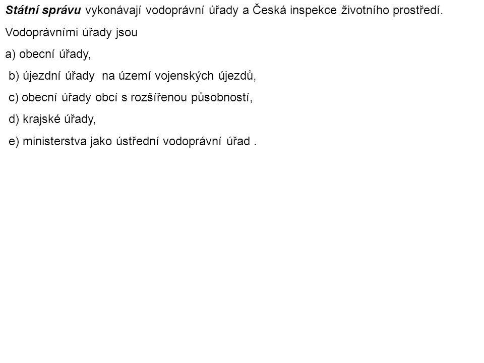 Státní správu vykonávají vodoprávní úřady a Česká inspekce životního prostředí.