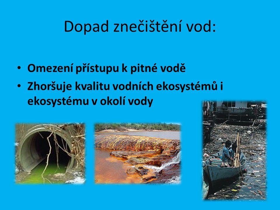 Lokalizace znečištění: Místní úniky znečišťujících látek (potrubí, nádrže, místa vyústění odpadních vod, továren, čistíren) Záplavy po prudkých deštích, bouřích Znečištění ze zemědělské činnosti, lesnictví Kontaminace podzemních vod Doprava Těžba Průmyslová výroba a skladování Služby
