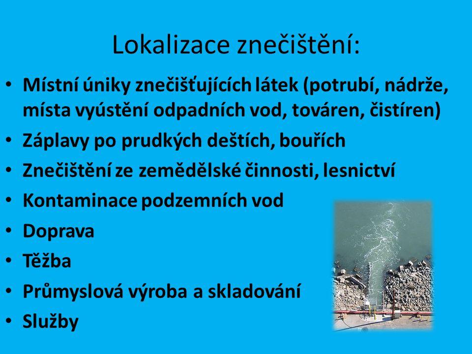 Lokalizace znečištění: Místní úniky znečišťujících látek (potrubí, nádrže, místa vyústění odpadních vod, továren, čistíren) Záplavy po prudkých deštíc