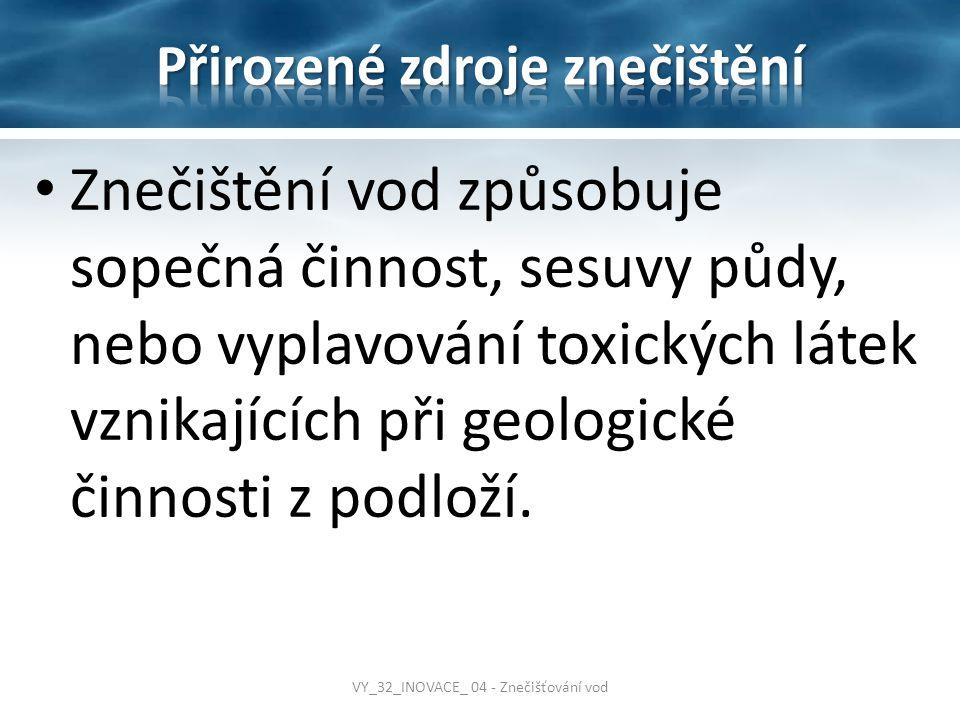 Znečištění vod způsobuje sopečná činnost, sesuvy půdy, nebo vyplavování toxických látek vznikajících při geologické činnosti z podloží.
