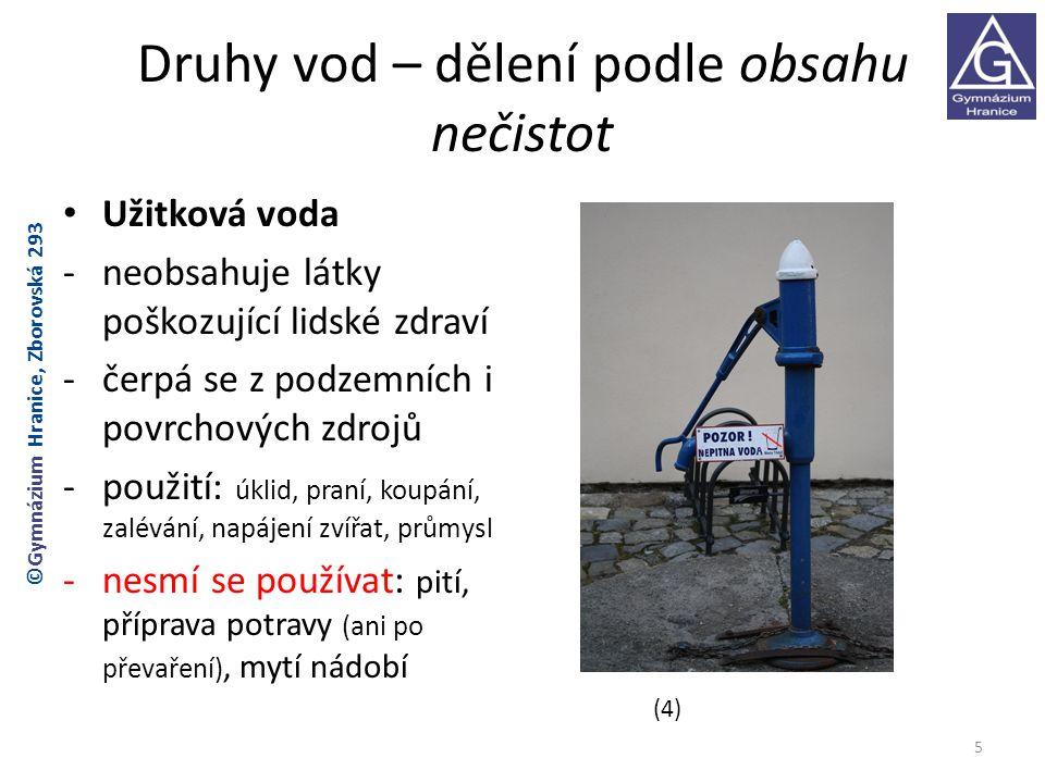 Druhy vod – dělení podle obsahu nečistot Užitková voda -neobsahuje látky poškozující lidské zdraví -čerpá se z podzemních i povrchových zdrojů -použit